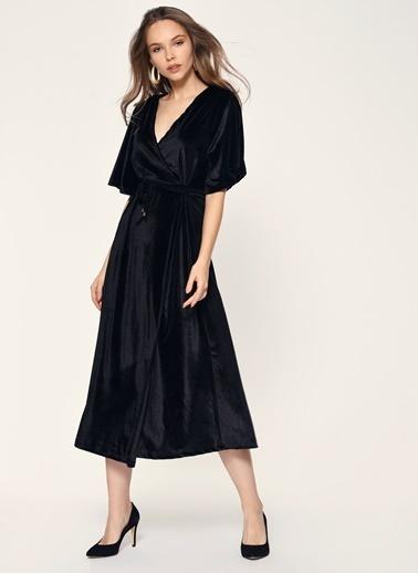 Loves You Japone Kol Anvelop Kadife Abiye Elbise Siyah